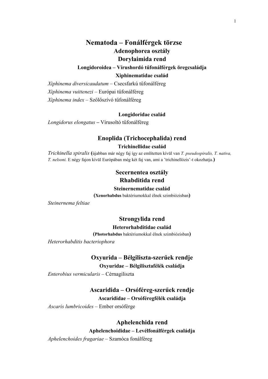 enterobius vermicularis rendszertan)