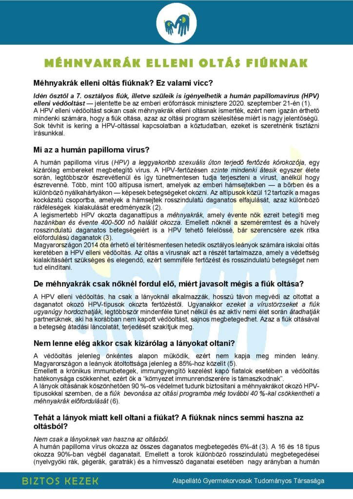 humán papillomavírus vakcina előnyei)